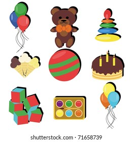 set with birthday party objects