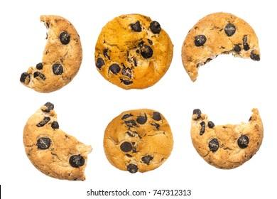 set bitten chip cookie on white background.