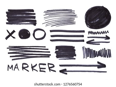 set of black abstract hand-painted marker