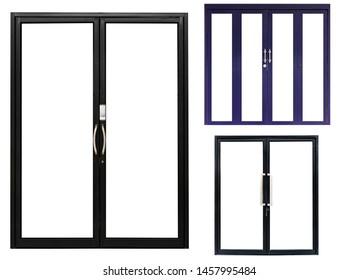 set black and bule aluminium double door isolated on white background