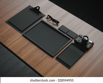 Set of the black business elements. 3d render