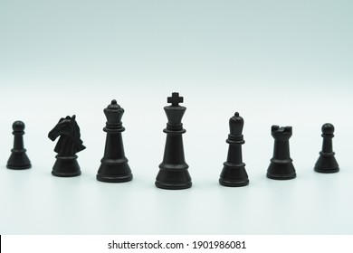 Set of black chess pieces. Chess piece icons. Board game. illustration isolated on white background