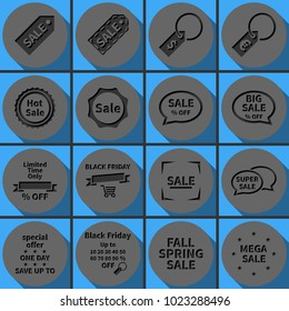 Set of Black Friday sale  icons. Special offer banner templates. Round papercut pictogram with 3d effect.