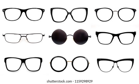 Set of black glasses isolated on white background for applying on a portrait