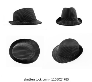 Set of black hat with white stripes isolated on white. Front, top, side view