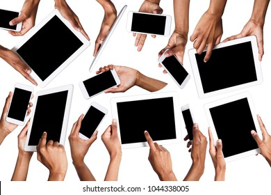 Set of black male hands touching smartphone and tablet display and pointing with index finger on blank screen, white isolated background. Communication concept