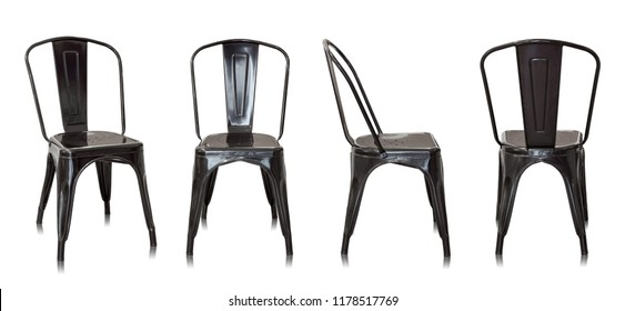 set of black metal chair isolated on white background