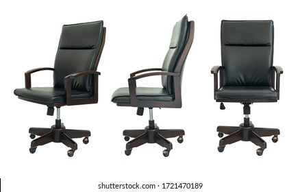 Set of black office chair isolated on white background.
