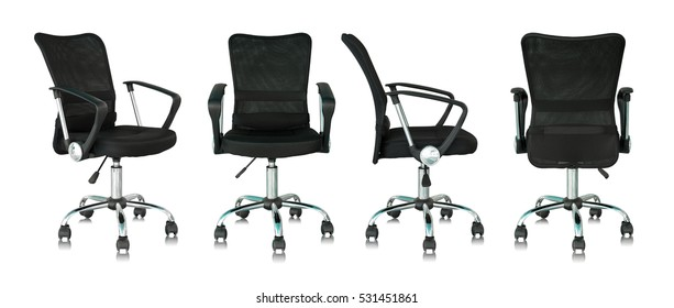 set of black office chair isolated on white background