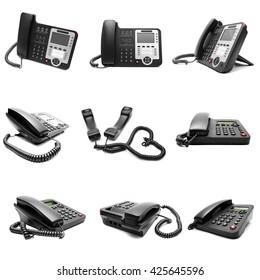 Set of black office phone isolated on white background