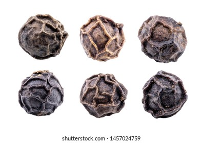 set of Black pepper isolated on white background,macro photography concept,with clipping path.
