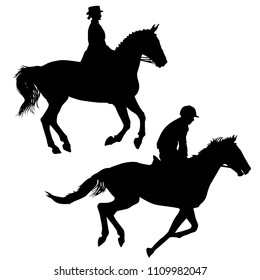 Set black silhouette of horse and jockey