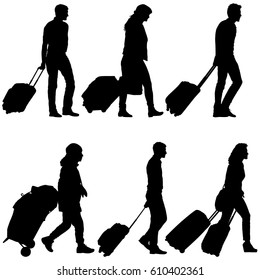 Set black silhouettes travelers with suitcases on white background. illustration.