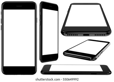 Set of black smartphone with a blank screen on a white background. 3d illustration.
