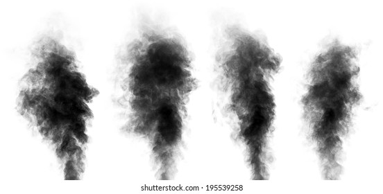 Set of black steam looking like smoke isolated on white background. Collection of clouds of black smoke.