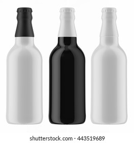 Set of black and white beer bottles with caps isolated on white background. 3D Mock up for your design.