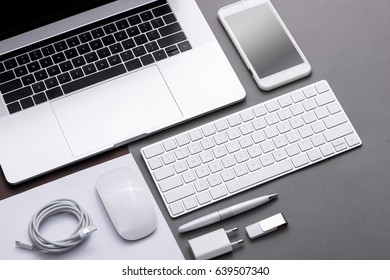 Set of black and white of office supplies and business gadgets.