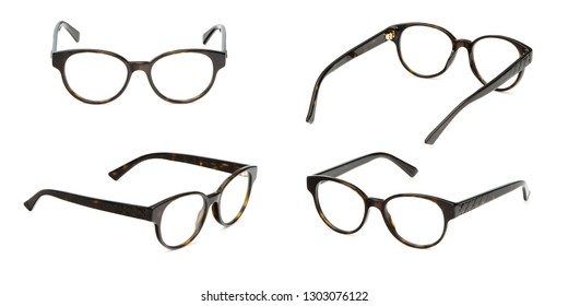 Set black and yellow glasses business transparent isolated on white background. Collection fashion office eye glasses.