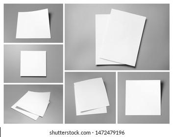Set of blank brochures on grey background. Mock up for design