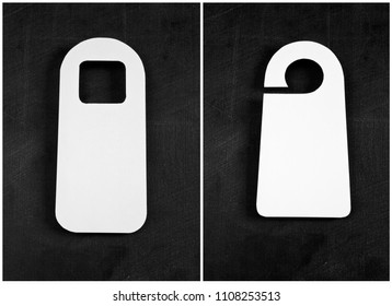 Set of blank door hanger on black background