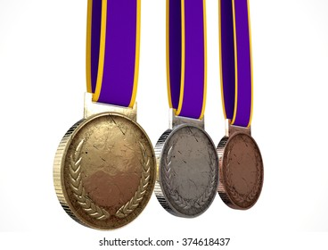 A set of blank gold, silver and bronze medals with ribbons on an isolated white studio background