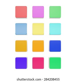 Set blank icons for your design isolated on white background. 3d illustration High resolution