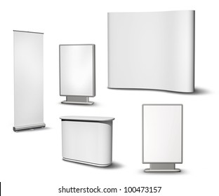 Set of blank roll-up poster, billboard, fair desk and concave wall on white background