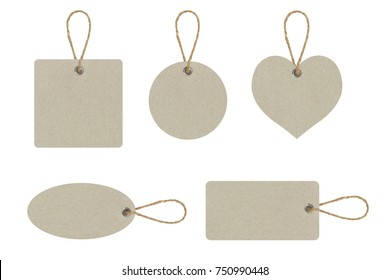 Set of blank tag tied for hang on product for show price or discount isolate on white background with clipping path