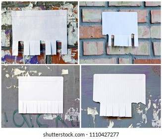 Set of Blank white paper with tear off tabs