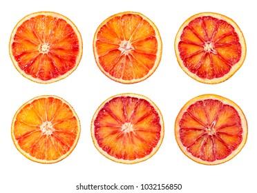 Set of blood red orange slice isolated on white background