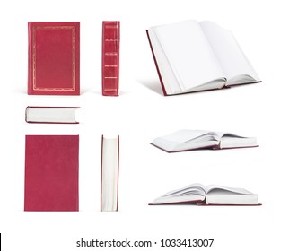 set of blue book in different positions isolated on white background