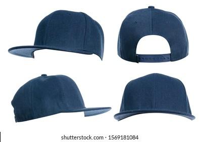 Set of blue cap on white background isolation