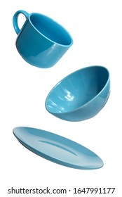 set of blue ceramic dishes: bowl, cup and plate. isolated on white.