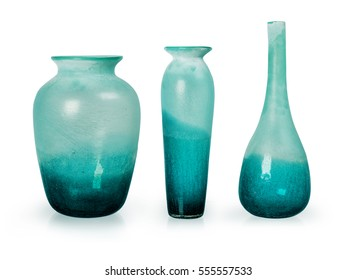 Set of Blue Ceramic vases isolated on white background, Clipping path included
