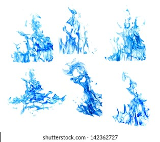 set of blue flames isolated on white background