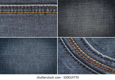 set blue jeans, cotton fabric texture. coarse canvas background - closeup pattern denim