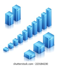 Set of blue metallic elements. 3d infographics histogram. Rasterized version.