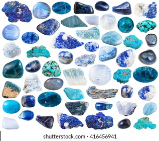 set of blue natural mineral stones and gemstones isolated on white background