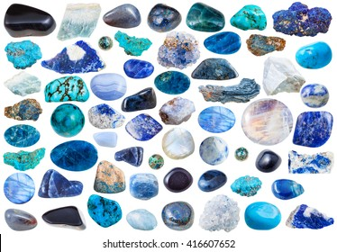 set of blue natural mineral stones and gems isolated on white background