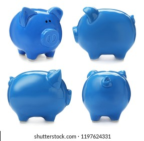 Set with blue piggy bank from different views on white background