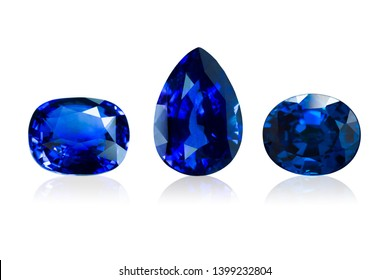 set of Blue sapphire  isolated on white background