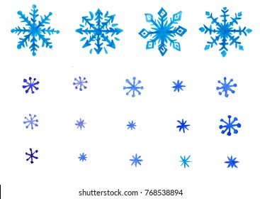 Set of blue snowflakes watercolor hand drawn