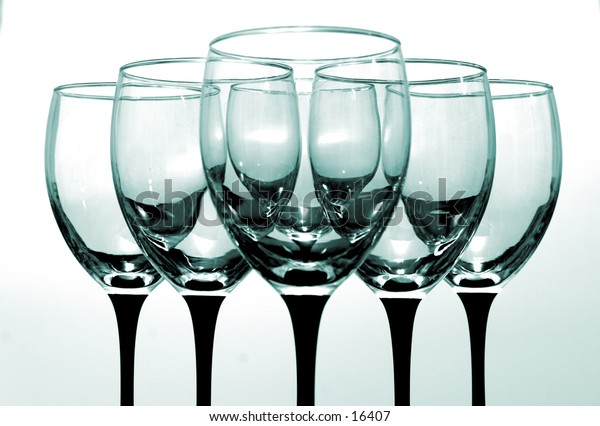 Set of blue tinted wine glasses.  If you would like different color tinted glasses, email me.