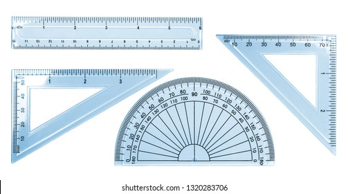 Set blue transparent rulers isolated on white background