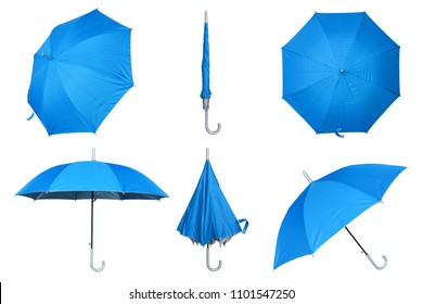 Set of blue umbrella isolated on a white background