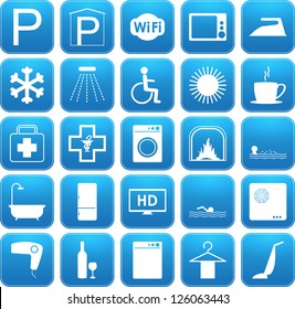 Set of Blue vector Hotel and B&B amenities icons
