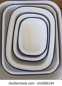 Set of blue and white enamel bowls