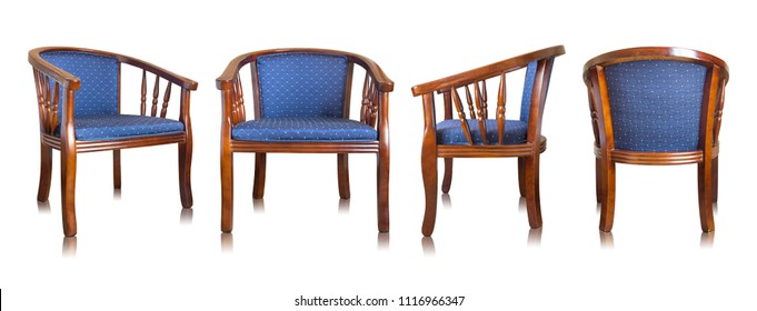 set of blue wooden chair isolated on white background
