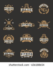 Set of bodybuilding emblems, badges, stickers isolated on black.