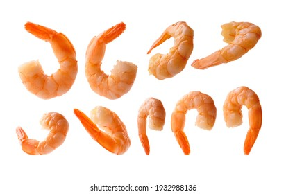 A set of boiled prawns. Isolated on a white background